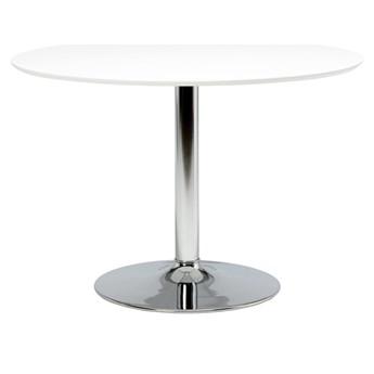 SELSEY Stół okrągły Balsamita średnica 110 cm biały na chromowanej nodze