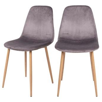 SELSEY Zestaw dwóch krzeseł tapicerowanych Iger szare na brązowych nogach