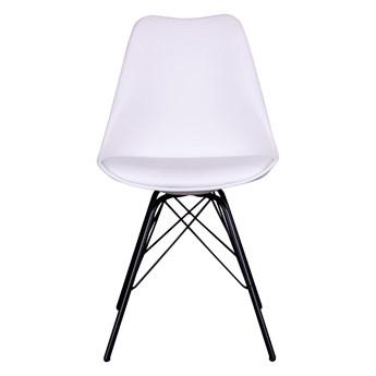 SELSEY Zestaw dwóch krzeseł Avihu białe na czarnych nogach