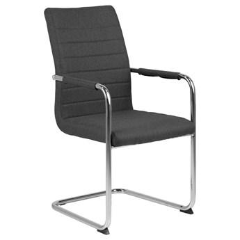 SELSEY Zestaw dwóch krzeseł tapicerowanych Letten szare na chromowanych nóżkach