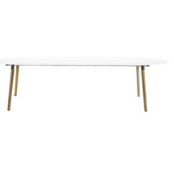 SELSEY Stół rozkładany Vuka 170-270x100 cm biały z drewnianą podstawą