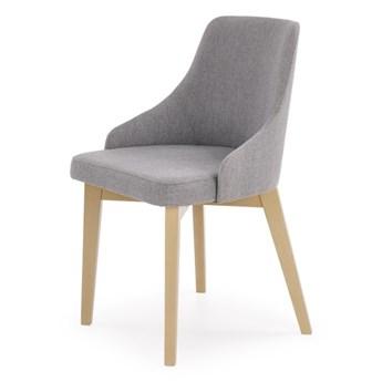 SELSEY Krzesło tapicerowane Berlas szare - dąb sonoma