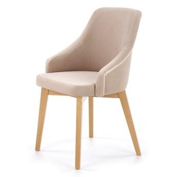 SELSEY Krzesło tapicerowane Berlas beżowy velvet - dąb miodowy