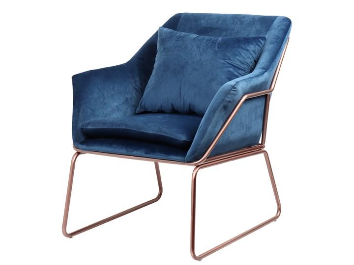 SELSEY Fotel Tale kubełkowy granatowy na podstawie w kolorze różowego złota Szerokość 70 cm Fotel inspirowany Tkanina Kolor Pomieszczenie Salon