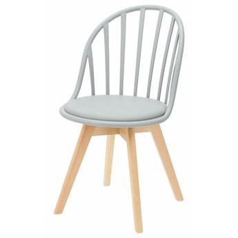 SELSEY Krzesło Taddeus szare z siedziskiem z ekoskóry na drewnianych nogach