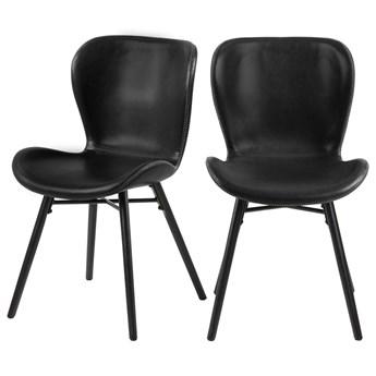 SELSEY Zestaw dwóch krzeseł tapicerowanych Glena czarne z ekoskóry na czarnych nóżkach