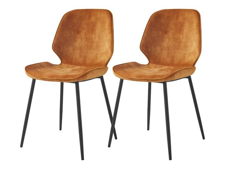 SELSEY Zestaw dwóch krzeseł Rablart żółte Tkanina Kategoria Krzesła kuchenne Metal Tapicerowane Styl Nowoczesny