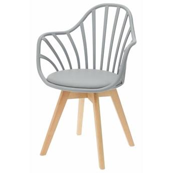 SELSEY Krzesło Taddeus szare z podłokietnikami i siedziskiem z ekoskóry