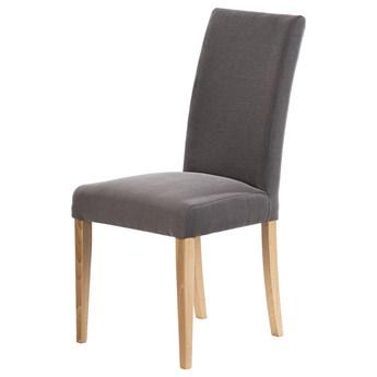 SELSEY Krzesło tapicerowane Aterin ciemnoszare w tkaninie łatwoczyszczącej  na bukowej podstawie