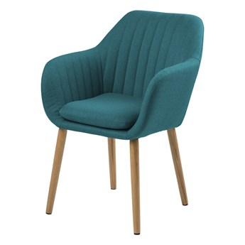 SELSEY Krzesło tapicerowane Enyf turkusowe na drewnianych nogach