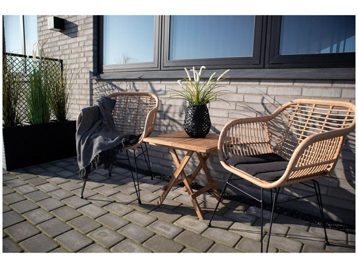 SELSEY Zestaw dwóch krzeseł Hacive naturalne Styl Nowoczesny Stal Rattan Metal Kolor Czarny