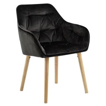 SELSEY Zestaw dwóch krzeseł tapicerowanych z podłokietnikami Agamos szarobrązowy welur na drewnianych nóżkach