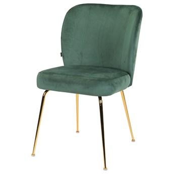 SELSEY Krzesło tapicerowane Alruba zielone na złotych nogach