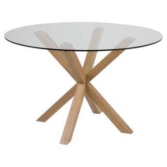 SELSEY Stół do jadalni okrągły Kardema średnica 119 cm szklany na dębowej podstawie