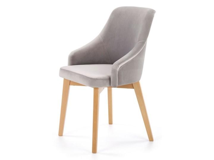 SELSEY Krzesło tapicerowane Berlas szary velvet - dąb miodowy