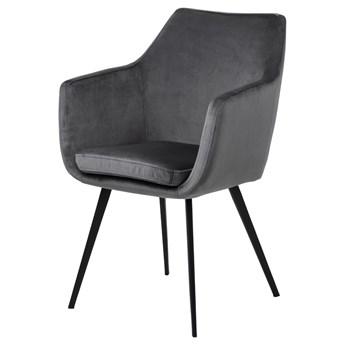 SELSEY Krzesło tapicerowane z podłokietnikami Marcelio ciemnoszary welur na czarnych nóżkach