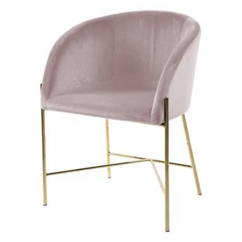SELSEY Krzesło tapicerowane Ribioc różowy welur na złotych nogach