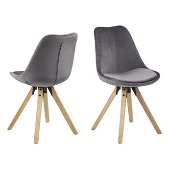 SELSEY Zestaw dwóch krzeseł tapicerowanych Djum szaro - dębowe
