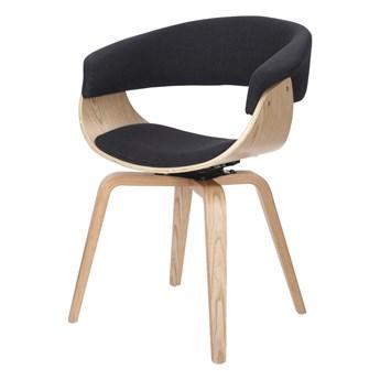 SELSEY Krzesło tapicerowane Asarlo czarne na klonowych nogach