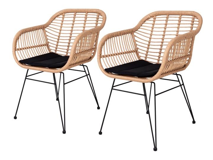 SELSEY Zestaw dwóch krzeseł Hacive naturalne Rattan Stal Metal Kolor Czarny