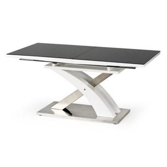 SELSEY Stół rozkładany Reinosa 160-220x90 cm czarny ze szklanym blatem