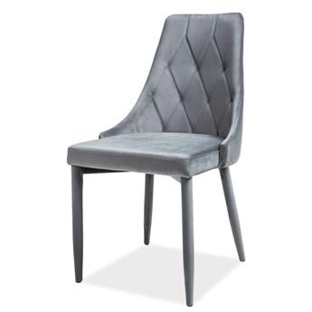 SELSEY Krzesło tapicerowane Cornido szary welur
