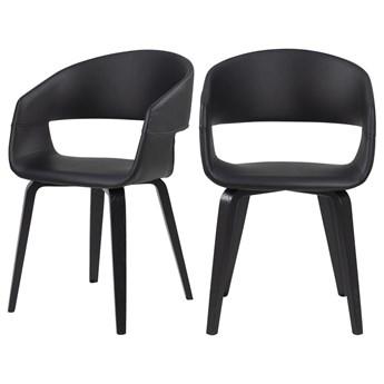 SELSEY Zestaw dwóch krzeseł tapicerowanych Drokan ekoskóra na brzozowej podstawie czarne