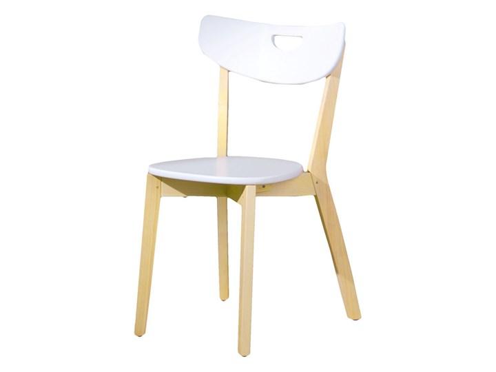 SELSEY Krzesło Batino białe z wyprofilowanym oparciem Płyta MDF Drewno Krzesło inspirowane Pomieszczenie Jadalnia Kolor Biały