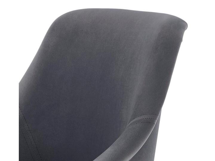 SELSEY Krzesło tapicerowane Berlas ciemnoszary velvet - dąb miodowy Tkanina Kategoria Krzesła kuchenne Drewno Styl Skandynawski