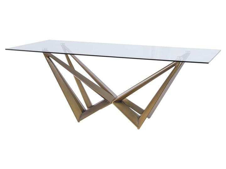 SELSEY Stół Martin 200x100 cm Szkło Długość 200 cm  Wysokość 76 cm Metal Płyta MDF Kształt blatu Prostokątny