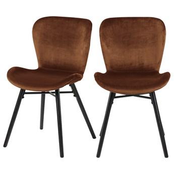 SELSEY Zestaw dwóch krzeseł tapicerowanych Glena miedziane na czarnych nóżkach