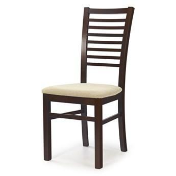 SELSEY Krzesło tapicerowane Lozari ciemny orzech z beżowym
