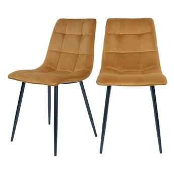 SELSEY Zestaw dwóch krzeseł tapicerowanych Kirme musztardowe