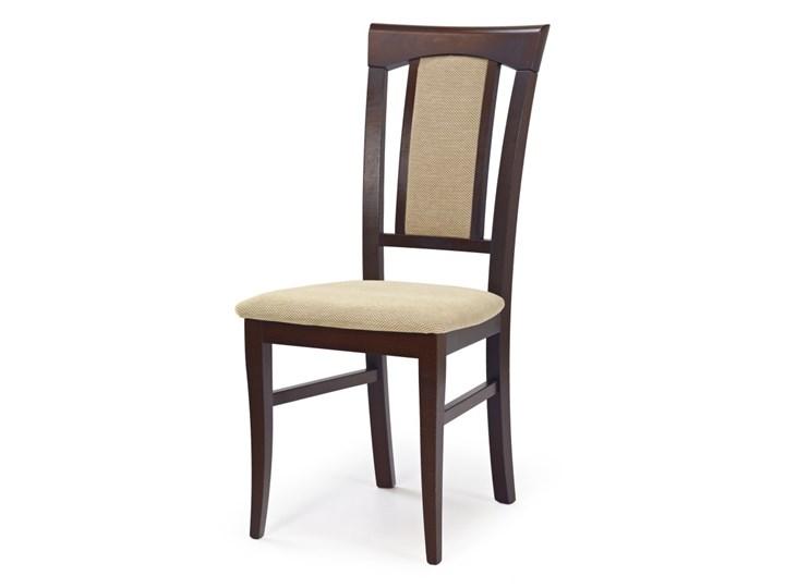 SELSEY Krzesło tapicerowane Mirna ciemny orzech Kolor Beżowy Tkanina Drewno Kategoria Krzesła kuchenne