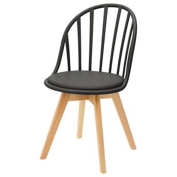 SELSEY Krzesło Taddeus czarne z siedziskiem z ekoskóry na drewnianych nogach
