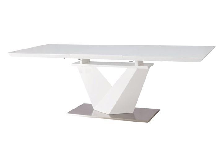 SELSEY Stół rozkładany Aramoko III 160-220x90 cm biały Płyta MDF Długość 160 cm  Wysokość 75 cm Długość 220 cm Szerokość 160 cm Szkło Stal Styl Awangardowy