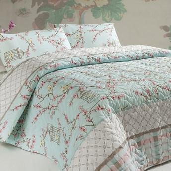 SELSEY Narzuta Birdcage 200x220 cm z dwiema poszewkami na poduszkę 50x70 cm miętowa
