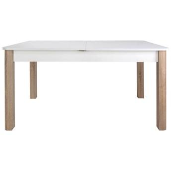 SELSEY Stół rozkładany Eagor 140-190x84 cm zaokrąglonymi rogami biel alpejska - dąb sonoma