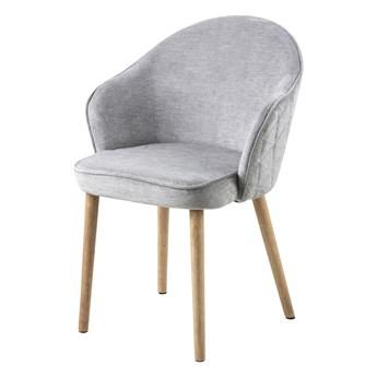 SELSEY Krzesło tapicerowane Evanthen szare z pikowaniem karo na drewnianych nóżkach
