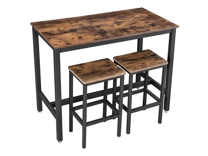 SELSEY Stolik barowy Ramizu z dwoma stołkami Styl Industrialny Szerokość 40 cm Stal Długość 120 cm  Styl Nowoczesny