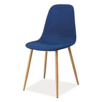 SELSEY Krzesło tapicerowane Arriba granatowe - dąb