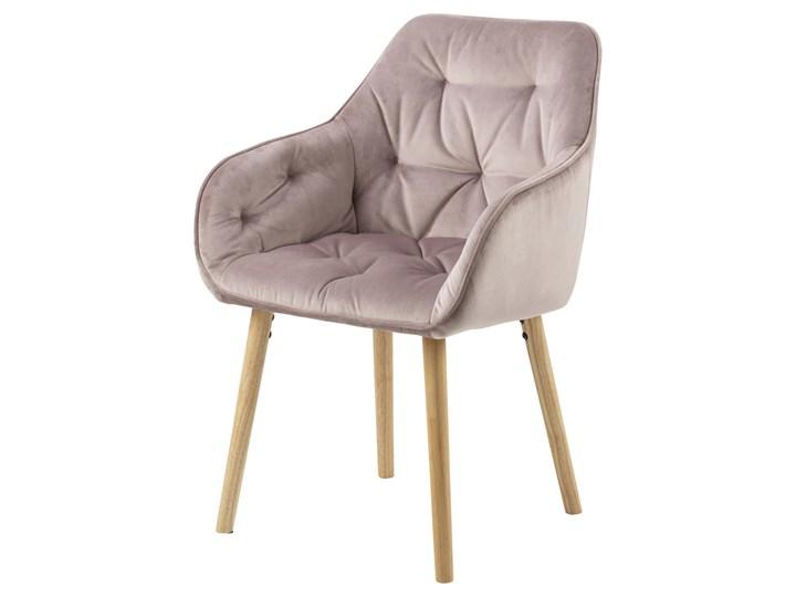 SELSEY Zestaw dwóch krzeseł tapicerowanych z podłokietnikami Agamos różowy welur na drewnianych nóżk ...