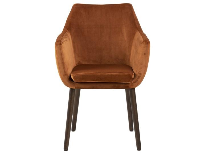 SELSEY Krzesło tapicerowane z podłokietnikami Marcelio miedziany welur Z podłokietnikiem Krzesło inspirowane Drewno Tkanina Pomieszczenie Jadalnia