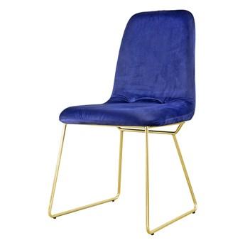 SELSEY Krzesło Hironna granatowe na złotych nogach ze stali