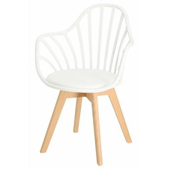 SELSEY Krzesło Taddeus białe z podłokietnikami i siedziskiem z ekoskóry