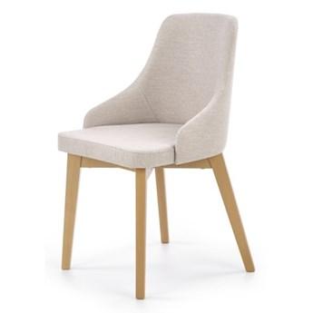 SELSEY Krzesło tapicerowane Berlas kremowe - dąb miodowy