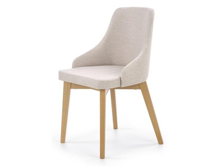 SELSEY Krzesło tapicerowane Berlas kremowe - dąb miodowy Drewno Tkanina Styl Klasyczny Pomieszczenie Jadalnia