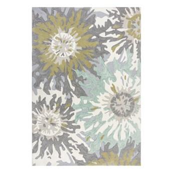 SELSEY Dywan syntetyczny Soft Floral z motywem kwiatów zielony