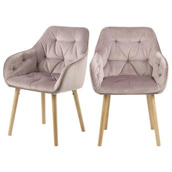 SELSEY Zestaw dwóch krzeseł tapicerowanych z podłokietnikami Agamos różowy welur na drewnianych nóżkach