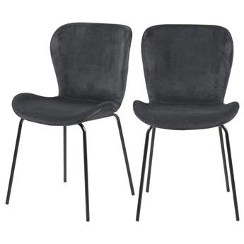 SELSEY Zestaw dwóch krzeseł tapicerowanych Glena szare na metalowych nóżkach
